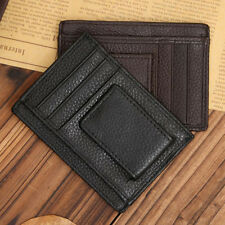 Mens Genuine Leather Cowhide Money Clip ID Credit Card Case Holder Slim Wallet