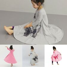 2-7Y Toddler Babys Girls Long Sleeve Butterfly Dress Loose Dresses Kids Clothes