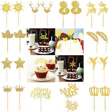 20x Shimmering Gold Glitter Cupcake Toppers Food Picks for Birthday Christmas