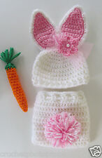 Bunny Hat & bow,diaper cover-White/Pink Newborn to 2 yrs-Pom Pom tail handmade