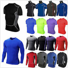 Men Compression Tight Baselayer Body Armour Thermal Under Skin Gear T-Shirt Tops
