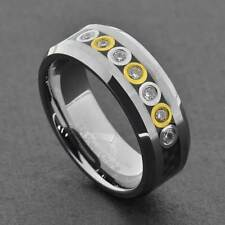 Tungsten 8mm Band Carbon Fiber Bubble Link Round CZ Man's Wedding Band
