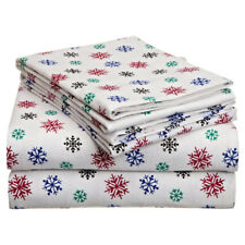 Twin XL Full Queen Cal King Bed Red Blue Snowflakes 4pc Cotton Flannel Sheet Set