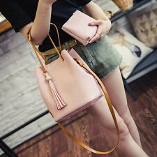 Fashion Women PU Leather Bucket Bag Handbag Shoulder Hobo Purse Messenger Tote