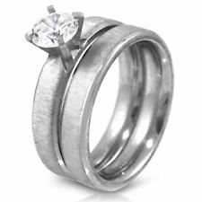 Brushed Stainless Steel CZ Wedding Ring Set Round Cut Cubic Zirconia 2pc Bridal