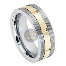 Men's 8mm 2-Tone Grooved Sides Tungsten Ring w/ Yellow Gold IP Center TS7050