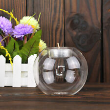 8/10/12CM Clear Round Hollow Heat Resistant Glass Candle Holder Candlestick AU