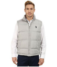 U.S. POLO ASSN. Mens Vest Logo Quilted Puffer Vest L Limestone Grey NWT