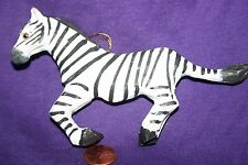 Hand carved hand painted wood ornament Zebra B