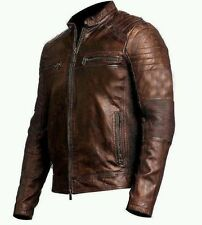 Mens Biker Vintage Motorcycle Cafe Racer Brown Waxed Leather Jacket