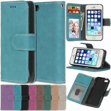 Flip Retro Leather Wallet Cards KickStand Case Cover For Apple iPhone 5 5G 5S