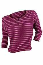 Free People $68 NWT Plumberry Pink Striped Cropped Knit Top Women