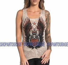 Sinful Estrella S3805 Women`s New Sand/Grey Tank Top By Affliction
