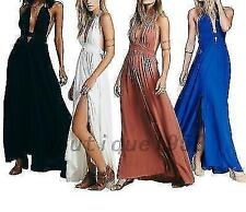 Backless Plunging Neckline Women's Formal Beach Evening Prom Party Maxi Dress