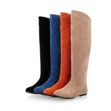 4 Colors Winter Womens Suede Flat Knee High Boot Cowboy Knight Shoes Sz US4-11.5