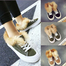 Women's Fur Lace Up Round Toe Canvas Flat Causal Shoes High Top Ankle Boots 2017