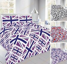 New Modern Union Jack Duvet Cover Bed Set With Pillow Cases Single Double King