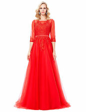 Women Formal Party Prom Long Lace Ballgown Evening Bridesmaid Dress Red Tulle