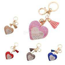 LOVELY Candy Color Delicate Heart Diamante Key Ring Charm with Tassels for Gift