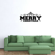 Wall Decal Quote Merry Christmas Vinyl Christmas Holidays Wall Decor (W98)