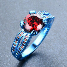 Unique Red Ruby Engagement Ring 10KT Blue Gold Filled Wedding Gift Size6-10