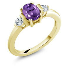 1.03 Ct Oval Purple Amethyst White Topaz 18K Yellow Gold Plated Silver Ring