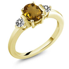 0.90 Ct Oval Whiskey Quartz White Diamond 18K Yellow Gold Plated Silver Ring