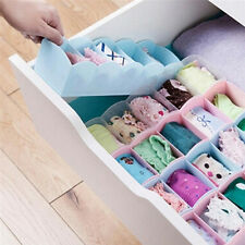 5 Grid Organizer Tie Bra Socks Drawer Cosmetic Divider Plastic Storage Box US