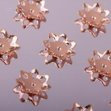 10X Rose Gold Flower Bead Caps 5mm/6mm/8mm Spacer Beads for DIY Jewelry Finding