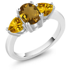 1.82 Ct Oval Whiskey Quartz Yellow Citrine 925 Sterling Silver Ring