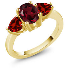 2.43 Ct Oval Red Rhodolite Garnet Red Garnet 18K Yellow Gold Plated Silver Ring