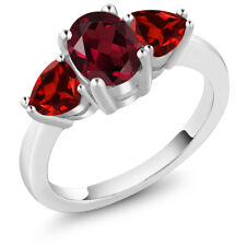 2.43 Ct Oval Red Rhodolite Garnet Red Garnet 925 Sterling Silver Ring