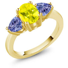 2.10 Ct Oval Canary Mystic Topaz Blue Tanzanite 18K Yellow Gold Ring