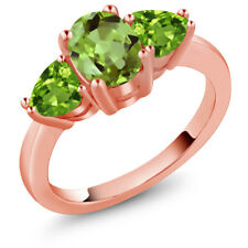 2.29 Ct Oval Green Peridot 18K Rose Gold Plated Silver Ring