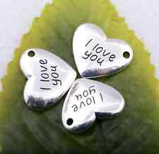 Wholesale Tibetan silver heart with love charm pendant craft 15x18mm #5098