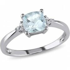 4/5 Carat T.G.W. Aquamarine and Diamond-Accent 10kt White Gold Cocktail Ring. Hu