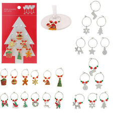 6pcs Alloy Christmas Mixed Glass Wine Charms Mark Rings Party Table Decorations