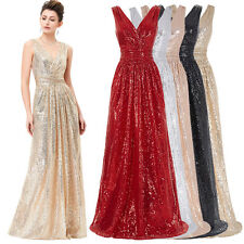 Sexy V Neck Sequins Bridesmaid Formal Prom Party Ball Gown Evening Long Dress