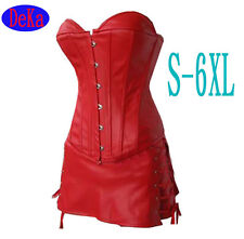 Hot sales!! PLUS SIZE Black Red Pv Leather Set Overbust Corset Bustier Top Skirt