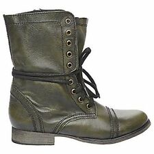 Steve Madden Troopa Leather Lace Up Combat Boots~green ~NIB