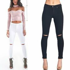 Women Sexy Holes High Waist Jogger Pencil Skinny Jeans Trousers Pants Legging