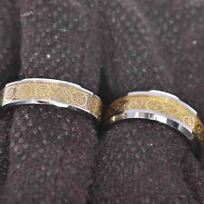 Tungsten His & Hers Engagement Wedding Band Ring Sets Gold Dragon Celtic Scroll