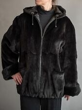 1190 - Sheared Mink Hooded Fur Jacket Reversible to Matching Leather