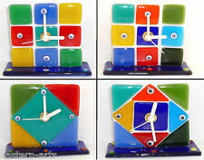 Italy Venice Murano Glass Art Battery Operated Red Blue Green Desk Clock - New