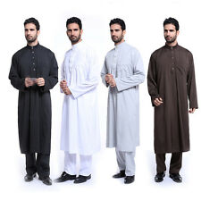 Solid Color Men Jubba Kaftan Dishdasha Thobe Collared Arab Stylish Jabbah+Pants