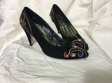 J Renee Pumps Black Suede Leather Rhinestone Heels Size 8N Nice Bling!
