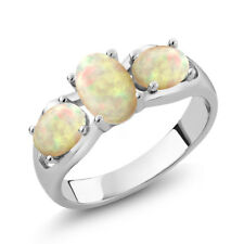 1.15 Ct Oval Cabochon White Ethiopian Opal 925 Sterling Silver Ring