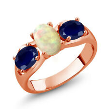 1.61 Ct Cabochon Ethiopian Opal Blue Sapphire 18K Rose Gold Plated Silver Ring