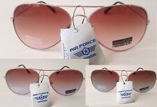 New Air Force Aviator Sunglasses Copper Gold Metal Frame Brown Tea Gradient 56