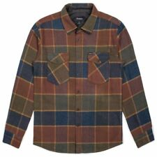 "Brixton ""Welden"" Long Sleeve Flannel (Olive/Brown) Men's Woven Plaid Shirt"